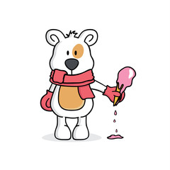 Winter bear with scarf and gloves holding ice cream