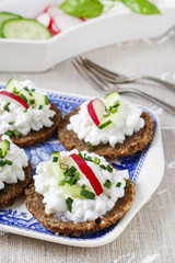 Fresh bread with cottage cheese and vegetables