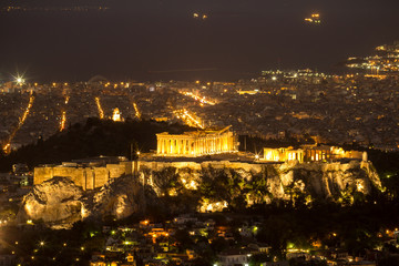 Acropolis of Athens in the night, Greece
