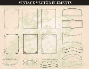 Decorative vintage frames and borders set vector