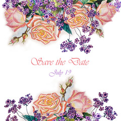 Flowers rose with leaves, watercolor, wedding illustration