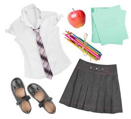School female uniform clothing elements isolated on white background