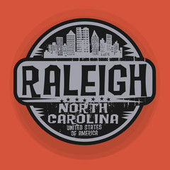 Stamp or label with name of Raleigh, North Carolina