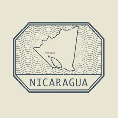 Stamp with the name and map of Nicaragua