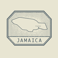 Stamp with the name and map of Jamaica
