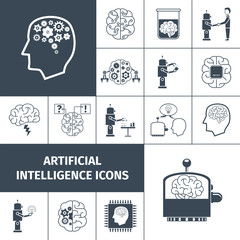 Artificial Intelligence Icons Black