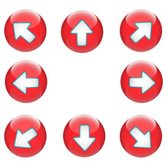 3D Arrow Button Direction Red