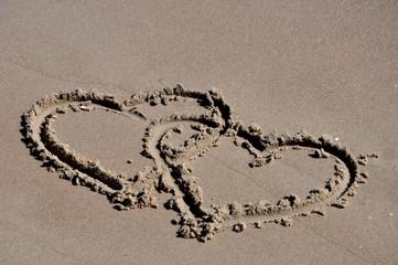 Zwei liebende Herzen am Strand