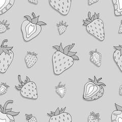 Seamless pattern Set of monochrome strawberries