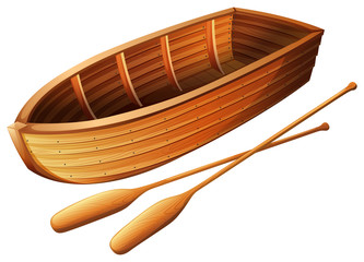 Wooden boat on white