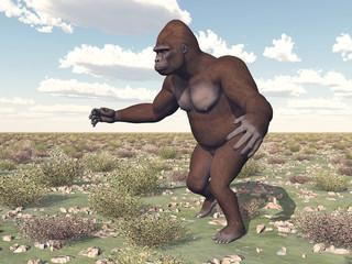 Gorilla in a landscape
