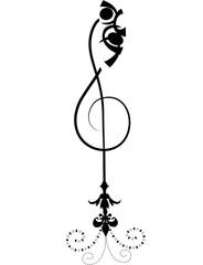 Tatuaggio con chiave violino stilizzata