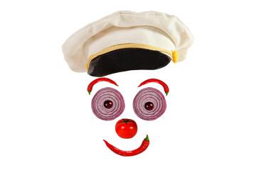 Creative food concept. Funny portrait of a sea captain made  veg