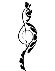 Tatuaggio chiave violino stilizzata