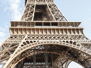 Eiffel Tower in Paris France. Detail of iron construction