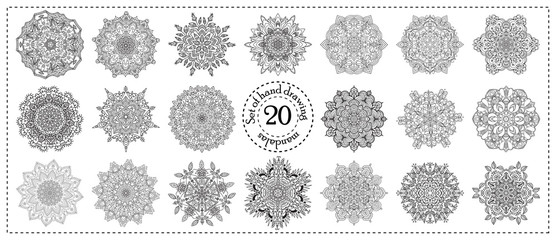 Set of hand drawing zentangle mandala elements