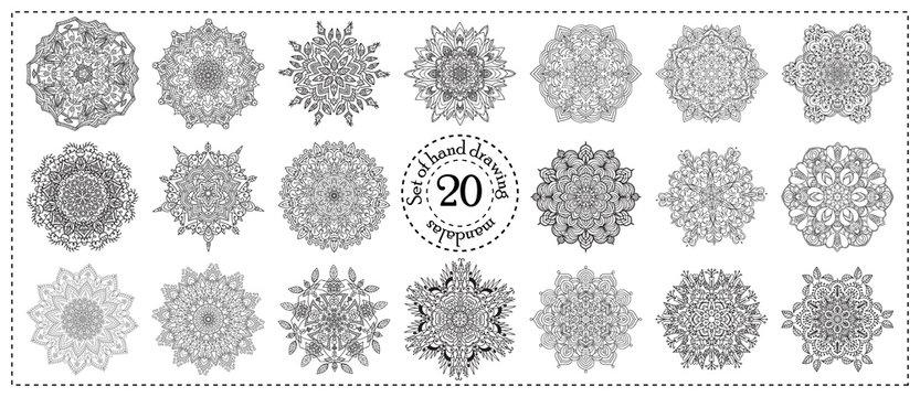 Set of hand drawing zentangle mandala elements