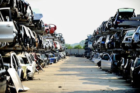 Wrecked car junkyard