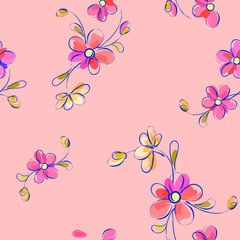 Seamless pink pattern with flowers