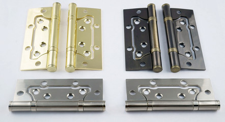 door hinges in different colors on a white background