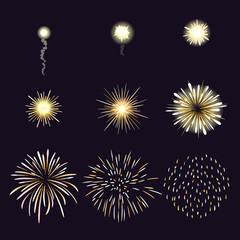 Animation of firework effect in cartoon comic style
