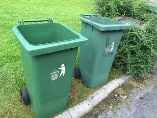 Green garbage bins
