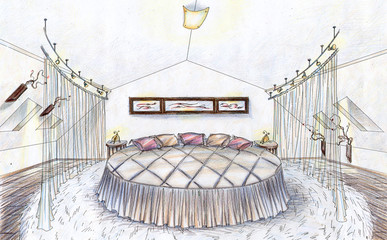 Hand drawn sketch of a bedroom