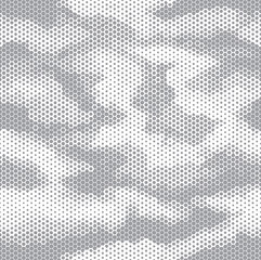 Octagon camouflage seamless pattern white grey