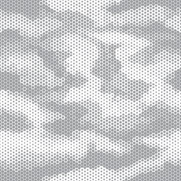 Octagon camouflage seamless pattern white grey