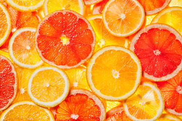 Foto auf Acrylglas Fruchte Colorful citrus fruit slices