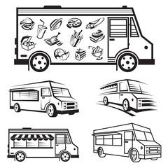 monochrome illustration of five food trucks
