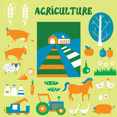 Agriclulture icons and pictures set - hand drawn funny style