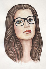 Watercolor woman face