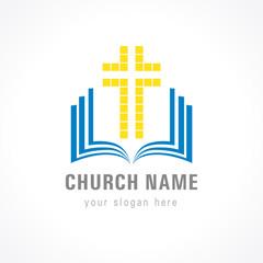 Church cross bible logo