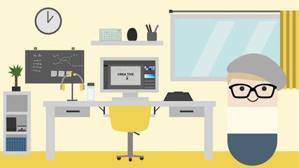 Designer Work Station. Flat style vector illustration. yellow white.