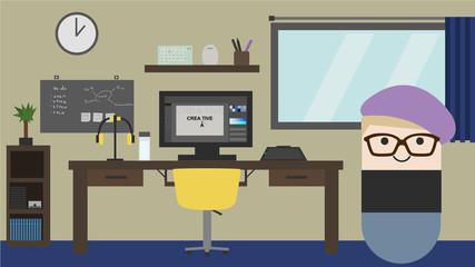 Designer Work Station. Flat style vector illustration.