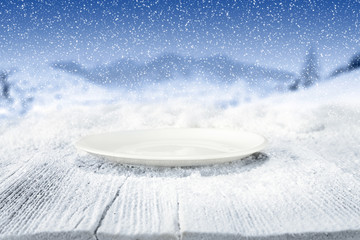 wooden table of snow and space for you