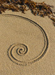 Esoterische Spirale auf feinem Kies mit Tang als Ornament