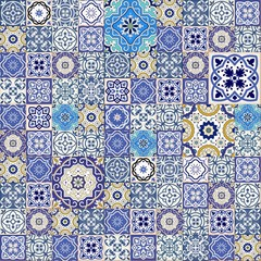 Mega  seamless patchwork pattern from colorful Moroccan tiles
