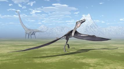 Pterosaur Dorygnathus and dinosaur Mamenchisaurus