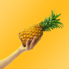 Female hand holding a pineapple on bright background