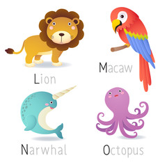 Alphabet with animals from L to O Set 2