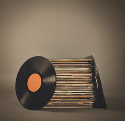 Retro Vintage Music Records Isolated