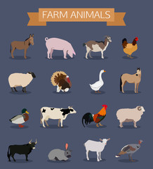 Set of farm animals icons.