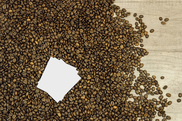 Coffee bean background with space for text on kitchen table