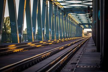 Bahnlinie über die Kaiserbrücke bei Mainz am Rhein