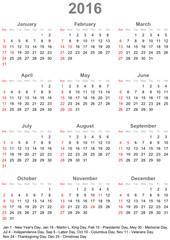 Kalender 2016 mit Markierung und Auflistung der gesetzlichen Feiertagen in den USA, Wochenbeginn am Sonntag
