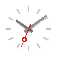 Wall clock with red arrow. Vector elements
