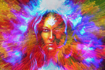mystic face women, with color background collage. eye contact .