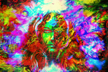 mystic face women with butterflies, color background collage. eye contact